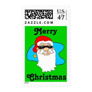 Merry Christmas Cool Santa In Sunglasses on Green Postage