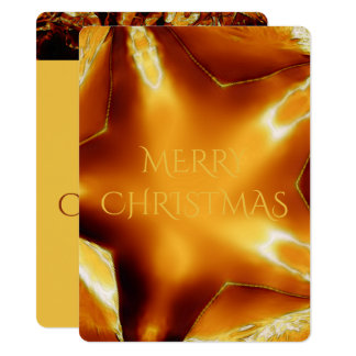 Merry Christmas Copper Gold Shiny Star Card