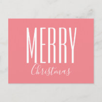 Merry Christmas Coral Pink Modern Holiday Postcard