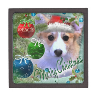 Merry Christmas Corgi Puppy Jewelry Box