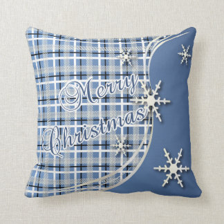 Merry Christmas Country Blue Plaid Snowflakes Throw Pillow