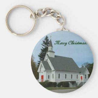 Merry Christmas!  Country Church Keychain