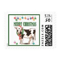 Merry Christmas Cow and Wreath Holiday Postage