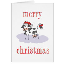 Merry Christmas Cow Card