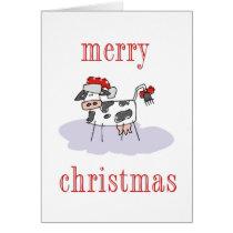 Merry Christmas Cow Card