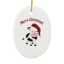 Merry Christmas Cow Ceramic Ornament