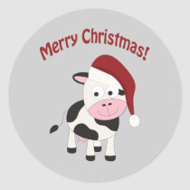 Merry Christmas Cow Classic Round Sticker