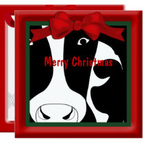 Merry Christmas Cow Flat Greeting Card
