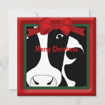 Merry Christmas Cow Flat Greeting Holiday Card