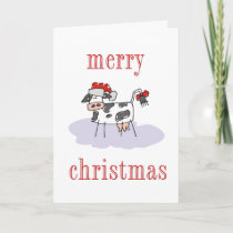 Merry Christmas Cow Holiday Card
