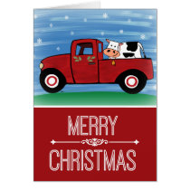 Merry Christmas Cow in a Red Truck Greeting Card