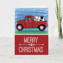Merry Christmas Cow in a Red Truck w/Verse Card