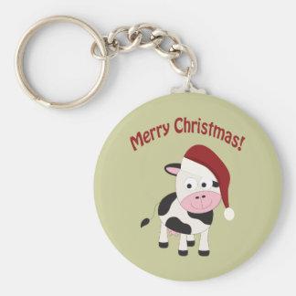 Merry Christmas Cow Keychain
