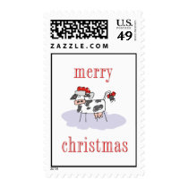 Merry Christmas Cow Postage