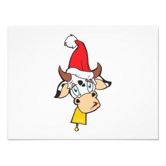 Merry Christmas Cow Santa Hat Bell Invitation Card Photo