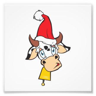 Merry Christmas Cow Santa Hat Bell Invitation Card Photo Print
