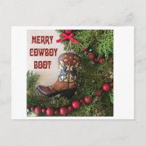 Merry Christmas Cowboy Boot Tote Postcard