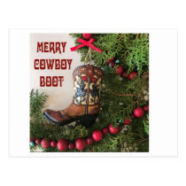Merry Christmas Cowboy Boot Tote Postcard