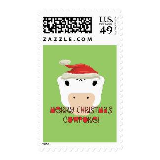 Merry Christmas CowPoke Postage Stamp