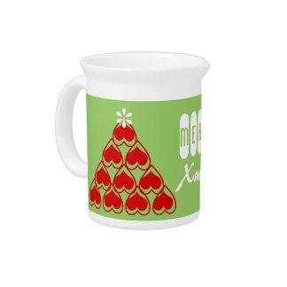 Merry Christmas Cozy Hearts Matching Holiday Pitcher