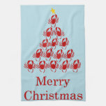 Merry Christmas Crab Hand Towels