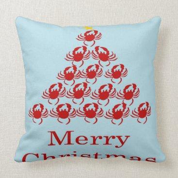 Christmas Themed Merry Christmas Crab Throw Pillow