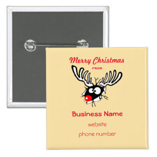 Merry Christmas Crazy Red Nosed Reindeer 2 Inch Square Button