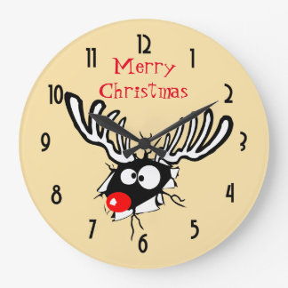 Merry Christmas! Crazy Red Nosed Reindeer Large Clock