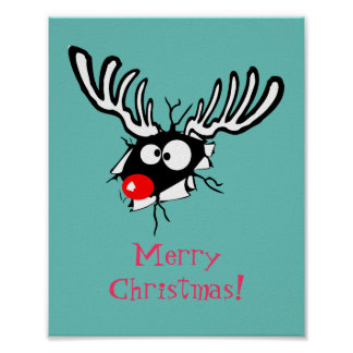 Merry Christmas! Crazy Red Nosed Reindeer Poster