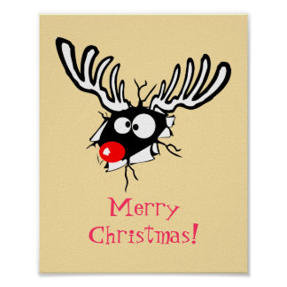 Cartoon Reindeer Posters | Zazzle