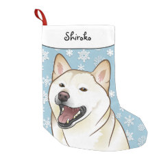 Merry Christmas Cream Shiba Inu Stocking Small Christmas Stocking