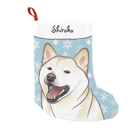 Merry Christmas Cream Shiba Inu Stocking Small Christmas Stocking