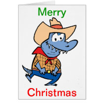 Merry Christmas Crocodile Cowboy Cartoon Card