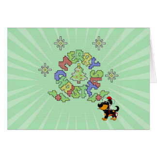 Merry Christmas Cross Stitch by Pup Greeting Card