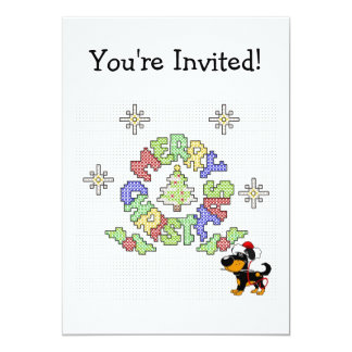 Merry Christmas Cross Stitch by Pup Personalized Invitation