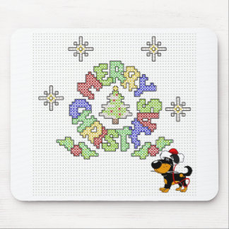 Merry Christmas Cross Stitch by Pup Mouse Pad