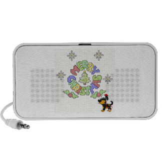 Merry Christmas Cross Stitch by Pup Portable Speakers