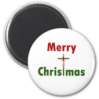 Merry Christmas Crucifix 2 Inch Round Magnet