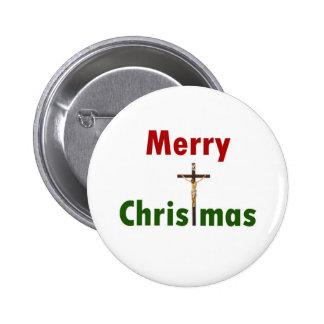 Merry Christmas Crucifix Button