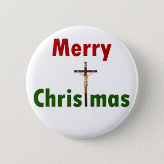 Merry Christmas Crucifix Button