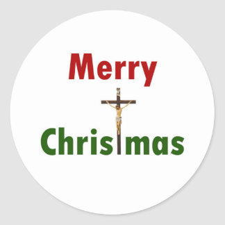 Merry Christmas Crucifix Stickers