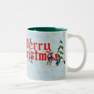 MERRY CHRISTMAS CUP by SHARON SHARPE Two-Tone Coffee Mug