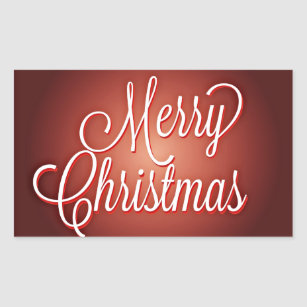 merry christmas cursive on maroon background rectangular sticker