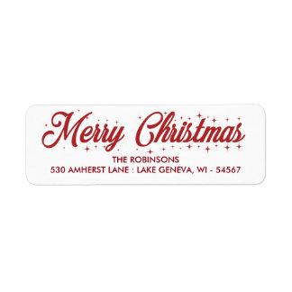 Merry Christmas Cursive Script Label