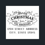 """Merry Christmas Custom Family Name Return Address Self-inking Stamp<br><div class=""""desc"""">Custom-designed return address stamp featuring festive Christmas design with your family name and address.  Personalize this self-inking address stamp today to add a touch of style to your holiday greeting cards,  letters,  and more!</div>"""