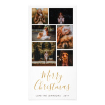 Merry Christmas Custom Greeting Holiday 6 Photo Card