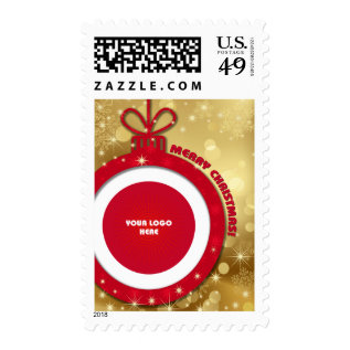 Merry Christmas. Custom Logo Christmas Stamps at Zazzle