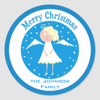 Merry Christmas Custom Name Angel Round Stickers