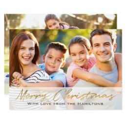 Merry Christmas Custom Photo 2-sided Gold Script Card
