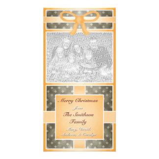 Merry Christmas Custom Photo Orange Brown Card